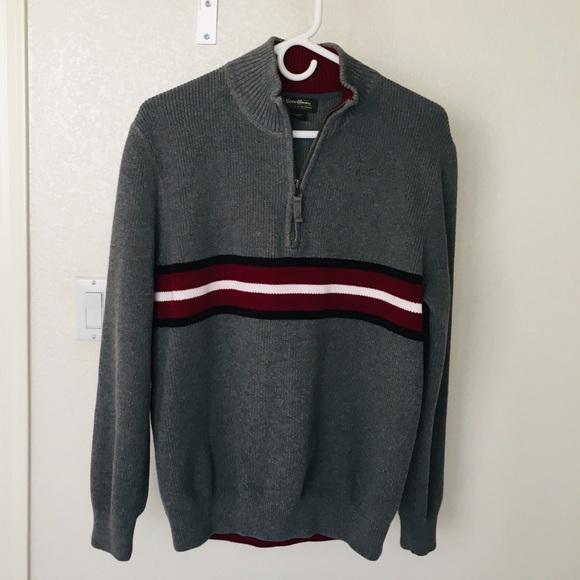 NICE Eddie Bauer Red Knit 1//4 Quarter Zip Pullover Sweater Men/'s size Large